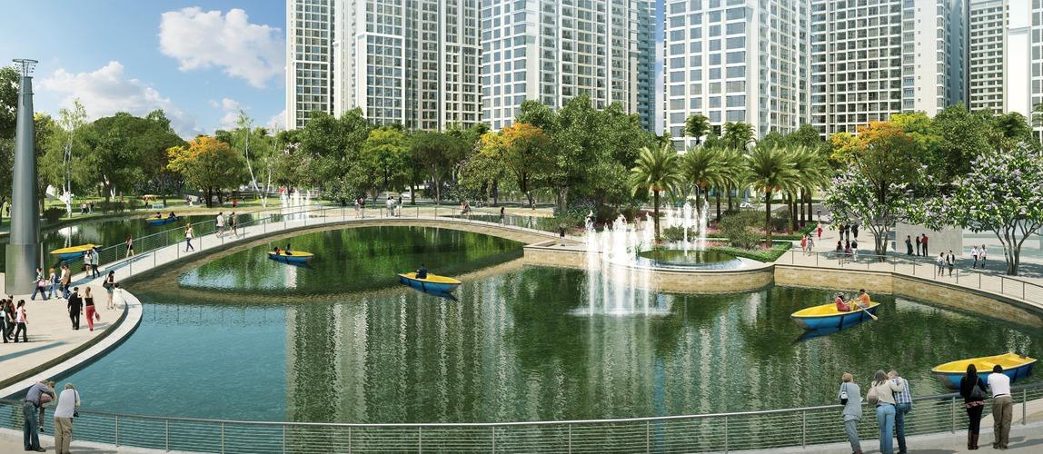 Hồ nước khuôn viên trong công viên Vinhomes Central Park