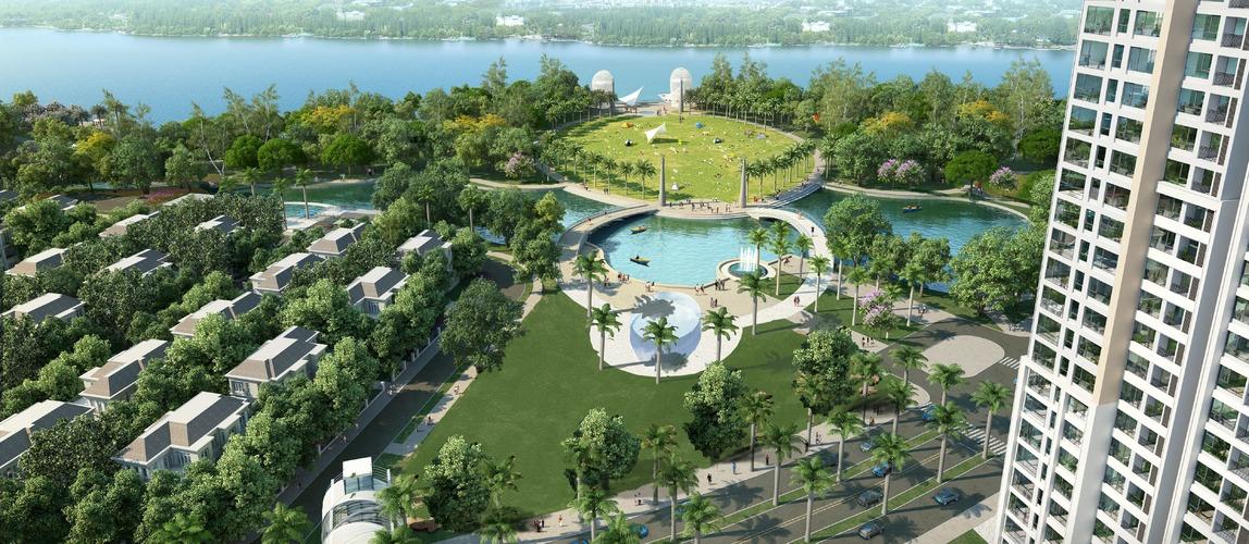 View quảng trường công viên từ 1 tòa nhà tại Vinhomes Central Park