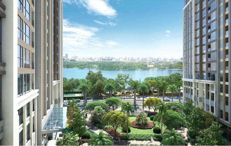 Hình ảnh giữa hai toàn nhà Vinhomes Central Park ra phía sông Sài Gòn