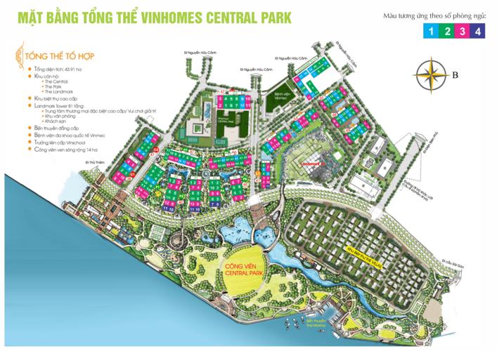 Mặt bằng tổng thể Vinhomes Central Park có đánh số phòng ngủ từng tòa