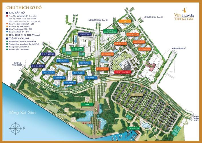 Mặt bằng tổng thể vị trí cụ thể các tòa căn hộ chung cư dự án Vinhomes Central Park