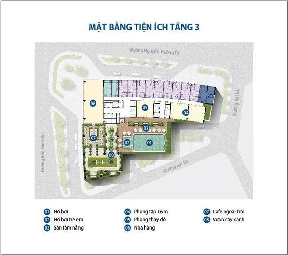 Mặt bằng layout tiện ích bể bơi tầng 3 tòa nhà Saigon Royal Quận 4