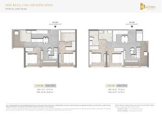 Chung cư Masteri Centre Point - Mặt bằng căn hộ điển hình 2 phòng ngủ