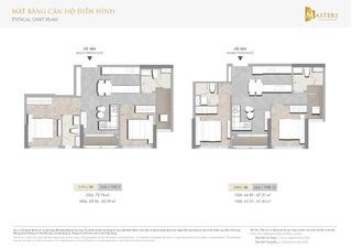 Chung cư Masteri Centre Point - Mặt bằng căn hộ điển hình 2 phòng ngủ loại 5