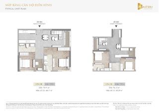 Chung cư Masteri Centre Point - Mặt bằng căn hộ điển hình 2 phòng ngủ loại 3
