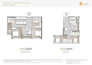 Chung cư Masteri Centre Point - Mặt bằng căn hộ điển hình 2 phòng ngủ loại 2
