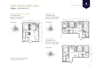 Mặt bằng căn hộ chung cư 01, 02, 03, 06, 07, 08, 12B tầng 6 tòa Landmark 81 dự án Vinhomes Central Park