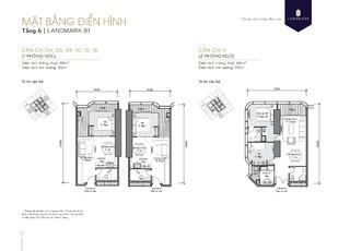 Mặt bằng căn hộ chung cư 04, 05, 09, 10, 11, 15, 16 tầng 6 tòa Landmark 81 dự án Vinhomes Central Park