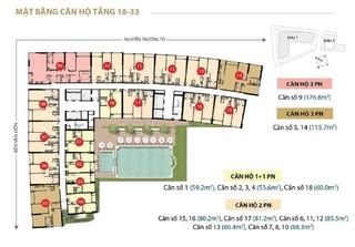 Mặt bằng layout căn hộ chung cư tầng 18 - 33 tòa nhà Saigon Royal Quận 4