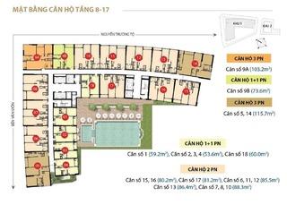 Mặt bằng layout căn hộ chung cư tầng 8 - 17 tòa nhà Saigon Royal Quận 4