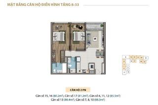 Mặt bằng layout căn hộ 2 phòng ngủ tầng 8 - 33 chung cư Saigon Royal Residence Quận 4