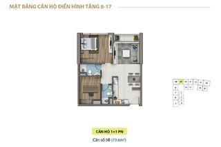 Mặt bằng layout căn hộ 1 phòng ngủ tầng 8 - 17 chung cư Saigon Royal Residence Quận 4