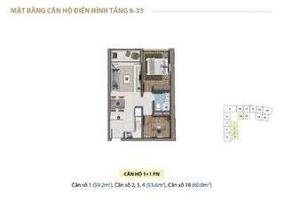 Mặt bằng layout căn hộ 1 phòng ngủ tầng 18 - 33 chung cư Saigon Royal Residence Quận 4